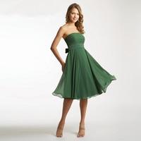 Abito damigella2017 nowy szyfon sexy pasek na ramię linii ciemnozielone druhna sukienki krótkie plus rozmiar vestido madrinha