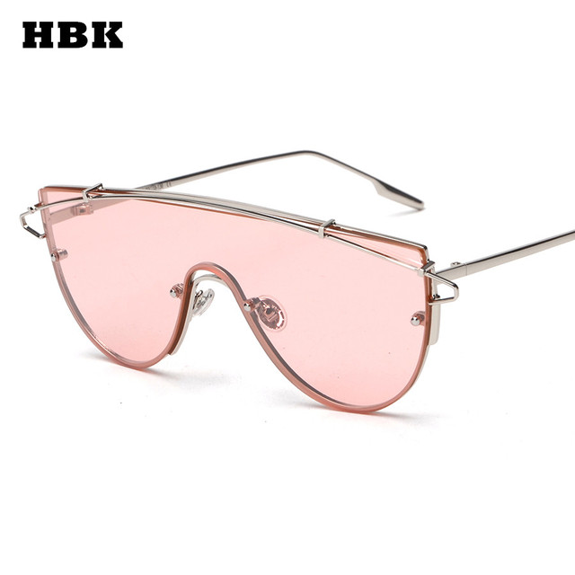 fe1cff160c New fashion brand one piece lens sunglasses women metal vintage oversized  tinted sunglasses mirror male female