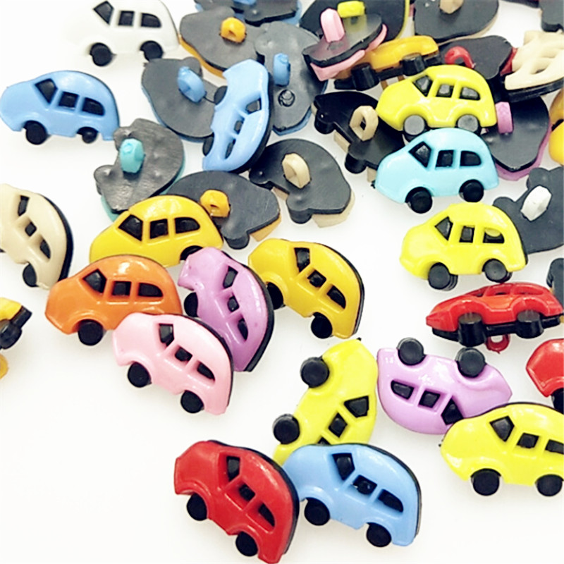 suoja 50Pcs/lot 17mm Mix Color Cute Car Plastic combined Buttons Apparel Supplies Sewing Accessories DIY Crafts
