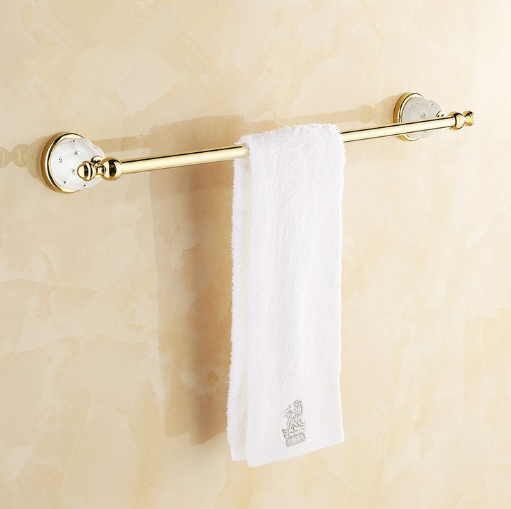(Free Shipping) Bathroom Accessories,Quality Brass Gold Finish Single Towel Bar&Towel Rack/ Modern Fashion Bath Products lengthened thickening bathroom towel bar single lever rack free nail