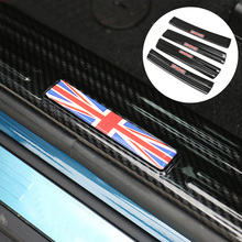 4pcs/Set Car Stainless Steel Carbon Fiber Pattern Door Sill Protector Pedal Welcome Plate Sticker For MINI Cooper Countyman F60 4pcs for skoda kodiaq outside door handle bowl decoration cover carbon fiber pattern stainless steel