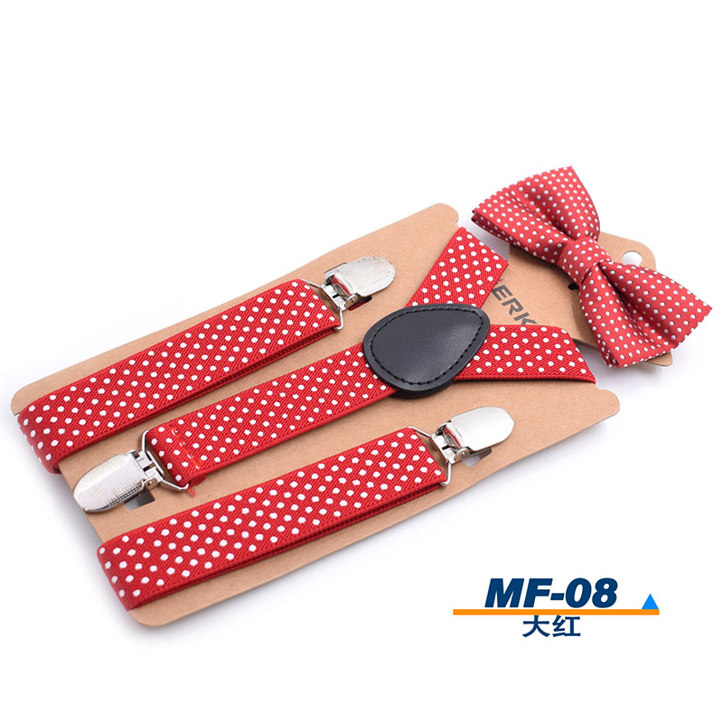 Elastic Boys Suspender Bowties Set Bretelle Bambino Wedding Bowties Suspenders Baby Kids Polka Dots Bow Ties Braces Kids