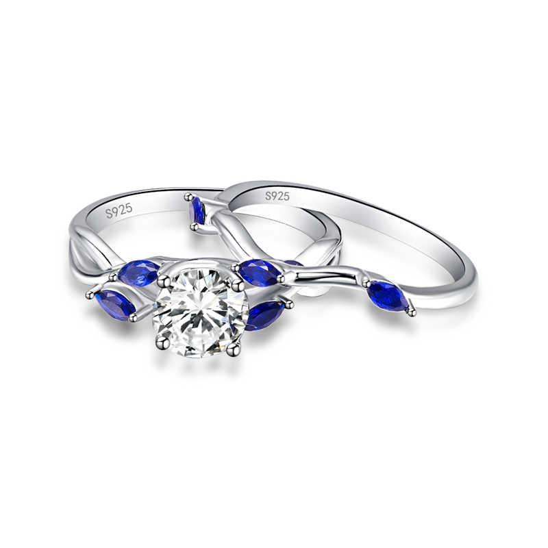 JQUEEN แหวนผู้หญิงเครื่องประดับ 2 ชิ้นสีขาว CZ คริสตัลหินฝัง Blue Horse Eye แหวนชุด S925 Sliver งานแต่งงาน band