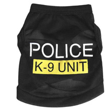 Small Canine Cat Pet Police Printed Black T-Shirt Pet Canines Coat Garments XS-L