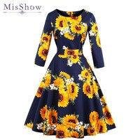 MisShow 2018 Autumn Sun Flower Floral Printed Woman Vintage Dresses Long Sleeve 4XL Plus Size Navy Blue Party O Neck Dresses