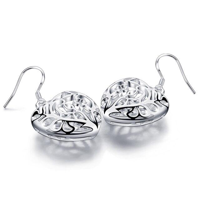 Мода 925 серебряные серьги в форме сердца, полые форме сердца кулон серьги, красивые женщины твердые серебряные ювелирные изделия