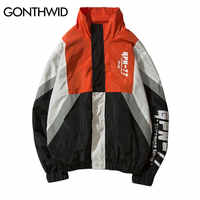 GONTHWID Vintage Color Block Jackets Men Printed Patchwork Windbreaker Jacket Coats 2019 Hip Hop Fashion Full Zip Streetwear