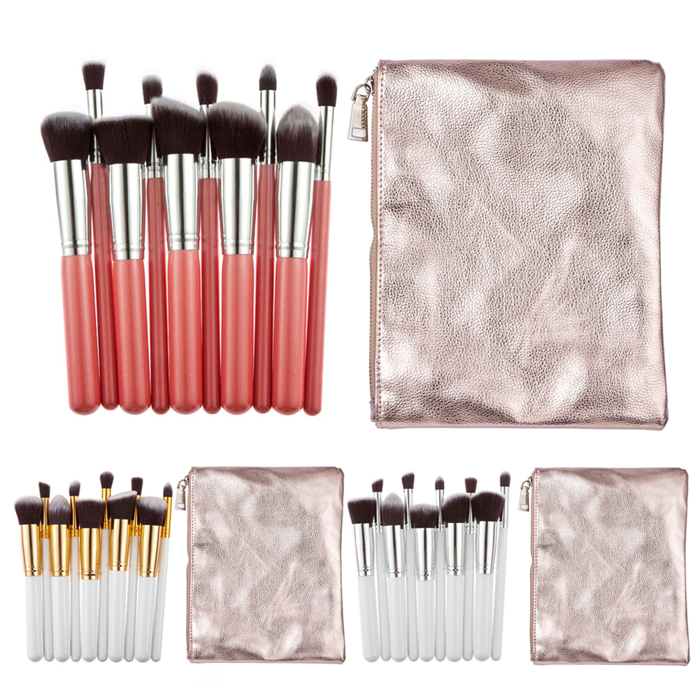 10Pcs Makeup Brushes Set Powder Foundation Eyebrow Eyeshadow Brush Portable Cosmetic Make Up Tools With Clean Bag Case 12pcs lot professioal makeup brush set with black leather case eyeshadow eyebrow sponge make up brushes 2 color makeup brushes