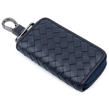 Sheep Skin Knitting Unisex Universal Key Pouch Zipper Purse Card Wallets 2019 Genuine Leather Multi-function Housekeepers