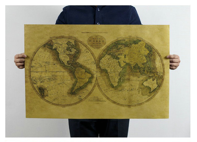 High Quality Kraft Paper Wall Sticker New Version Of The World - High quality world map poster
