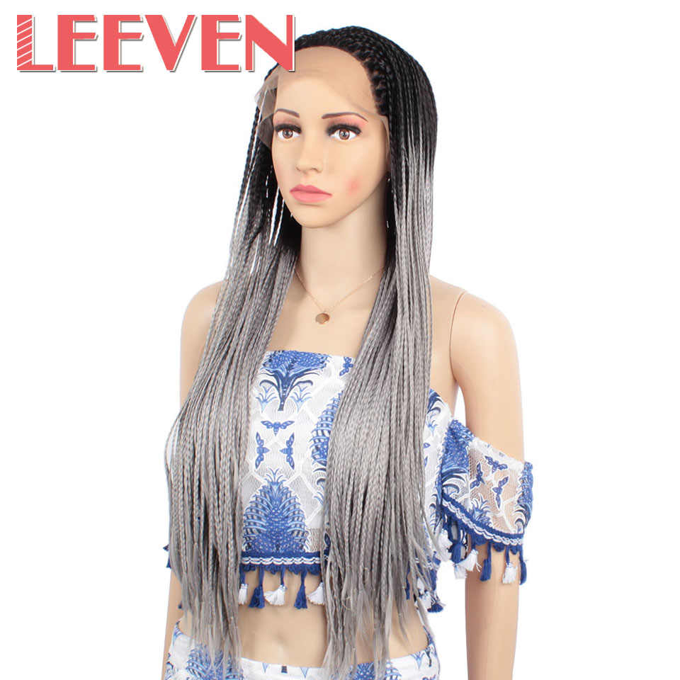 Leeven Braided Box Braids Wig with baby hair synthetic Lace Front wig black For Women Hi Temperature Fiber Heat Resistant Hair