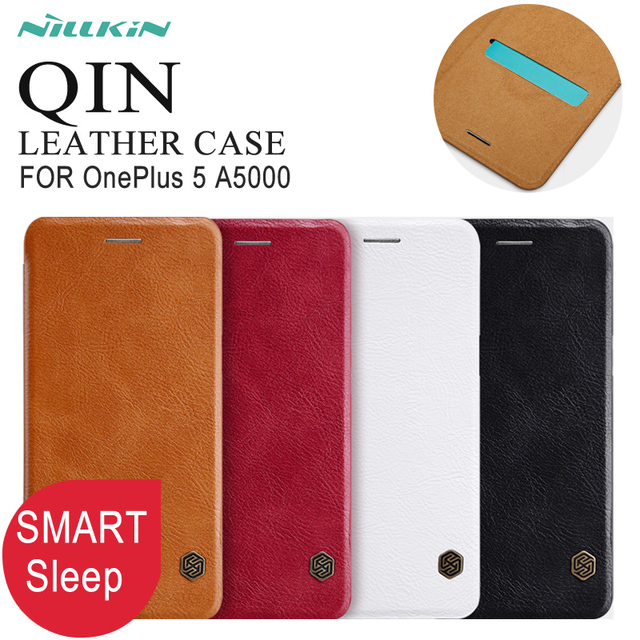 Smart Case For OnePlus 5 Nillkin Qin Series Flip Cover PU Leather Case For Oneplus 5 A5000 Smart wake up cases 5.5 inch