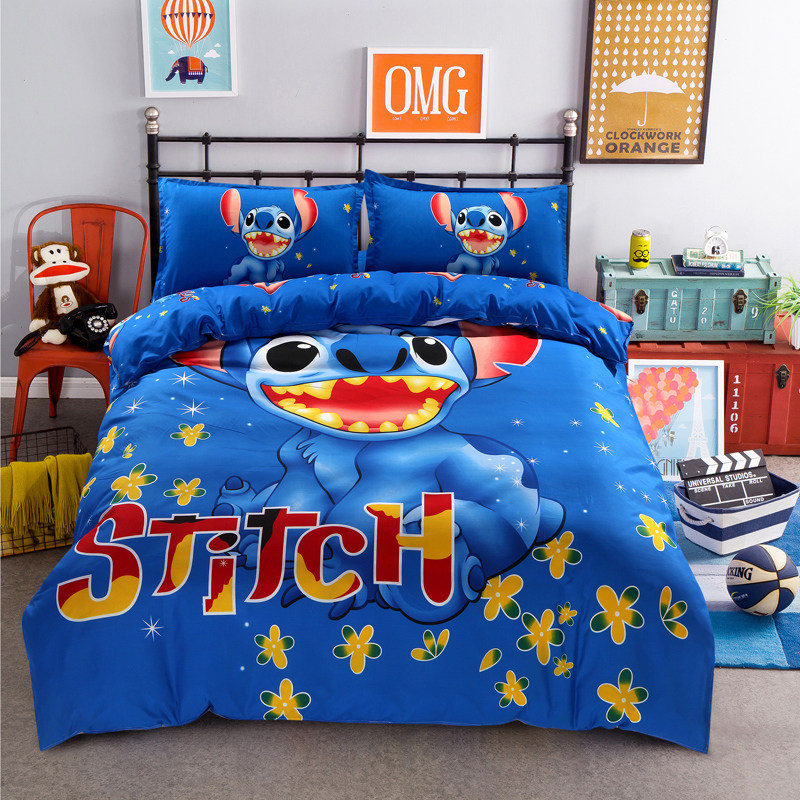 Cartoon 3d Stitch Bedding Set Children Cotton Bed Linen Kids Gift 3-4pcs Include Duvet Cover Flat Sheet Pillowcase Free Shipping