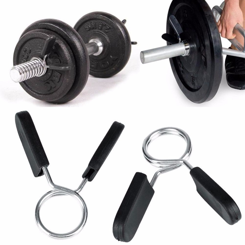 2Pcs//Set Rod Clamp Barbell Spring Collar Clip Weight Barbells Lock Clamps SH