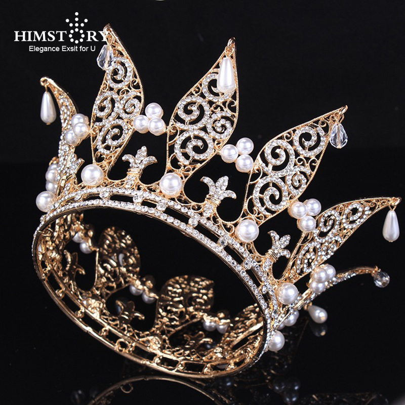 Himstory Luxury Rhinestone Round Wedding Queen King Crown Princess Pearl Bridal Tiaras Crowns Prom Diadem Wedding Hair Jewelry himstory luxury sparkling cz flower bridal tiaras crown hair accessories big diadem crowns for women girls wedding party holiday