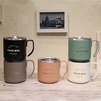 BAISPO Stainless Steel Coffee Mug With Lid American Style Tea Milk Cup Anti Fall Travel Mugs Thermal Insulation Coffee Drewing|Mugs| |  -