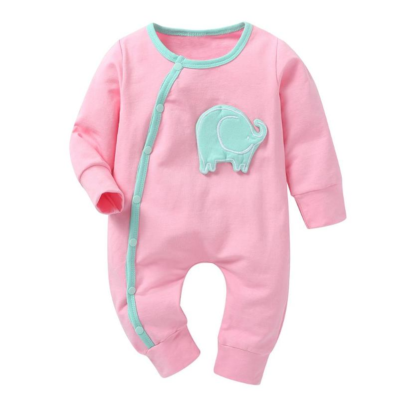 Enthusiastic Newborn Baby Rompers Cartoon Elephant Infant Romper Warm Soft Kid Jumpsuit Side Buttons Long Sleeve Cotton Baby Sleepwear Winter Limpid In Sight