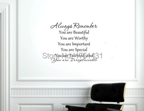Always Remember You Are Beautiful Wall Art Decals Home Decoration Living Room Wallpaper Bedroom Decor