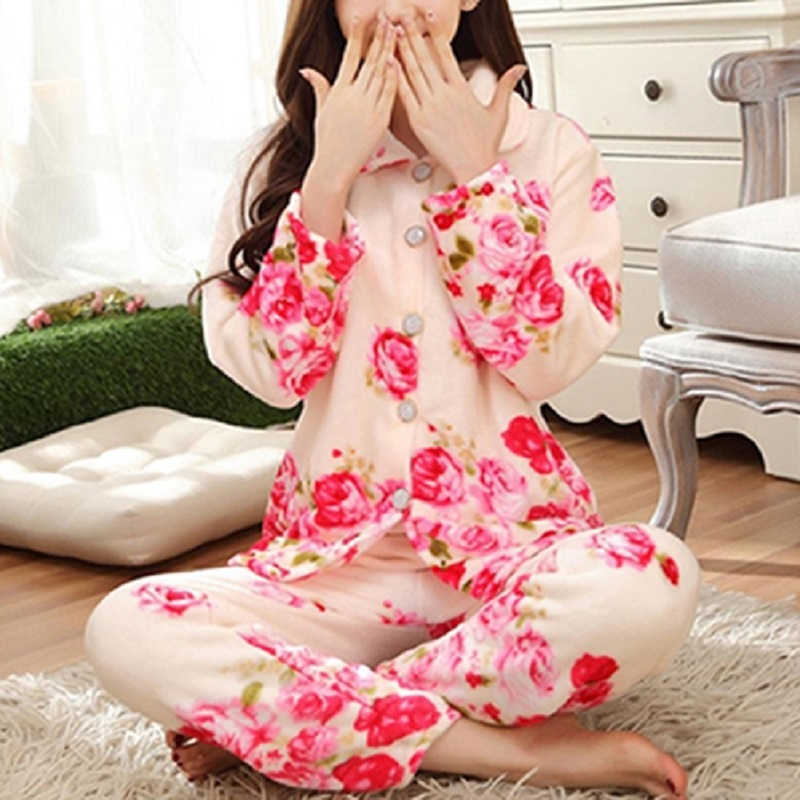 Winter Women Pyjamas Floral High Quality Sleepwear Thicken Warm Flannel Pajamas Set Long Sleeve Nightwear Homewear Tops Pants