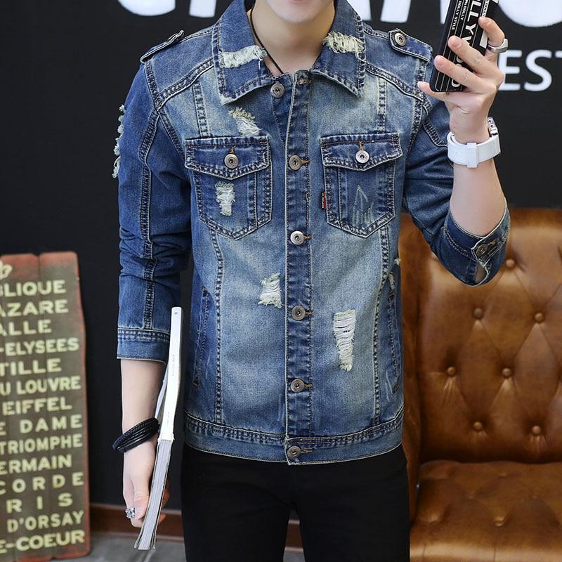 Kingman Top Quality Denim Jackets Men Hip Hop Brand Clothing Streetwear Ripped Jeans Jacket Fashion Hole Jaqueta Masculino Plus Size 3XL