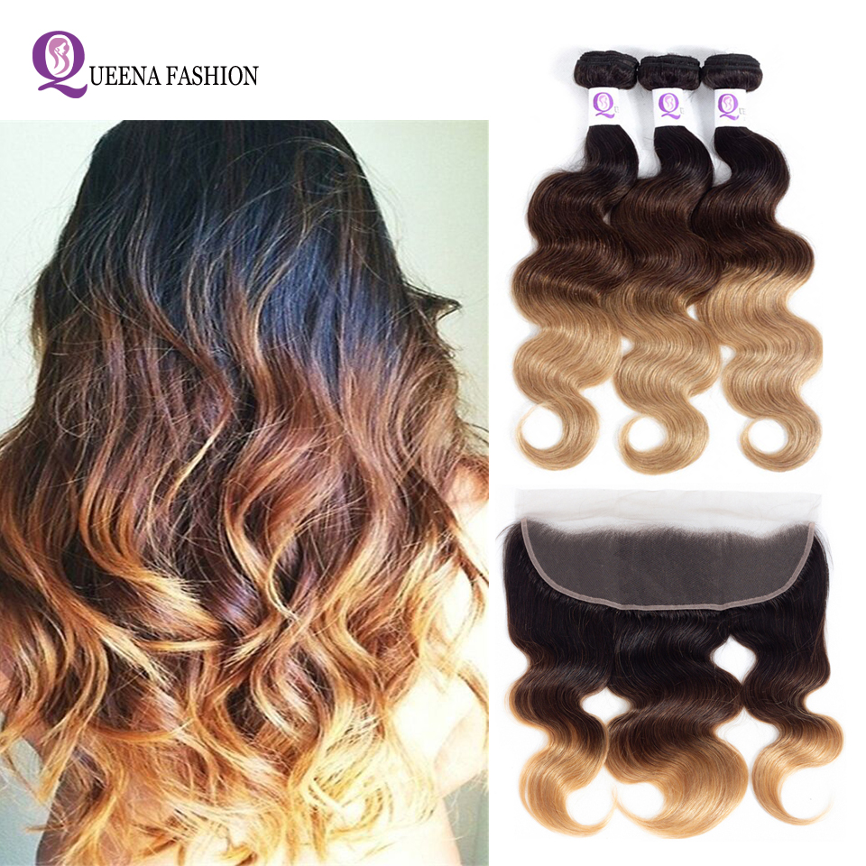 Ombre Hair Bundles With Frontal T1b/4/27 Ear To Ear Lace Frontal Closure With Bundles 3 Bundles Brazilian Body Wave With Frontal