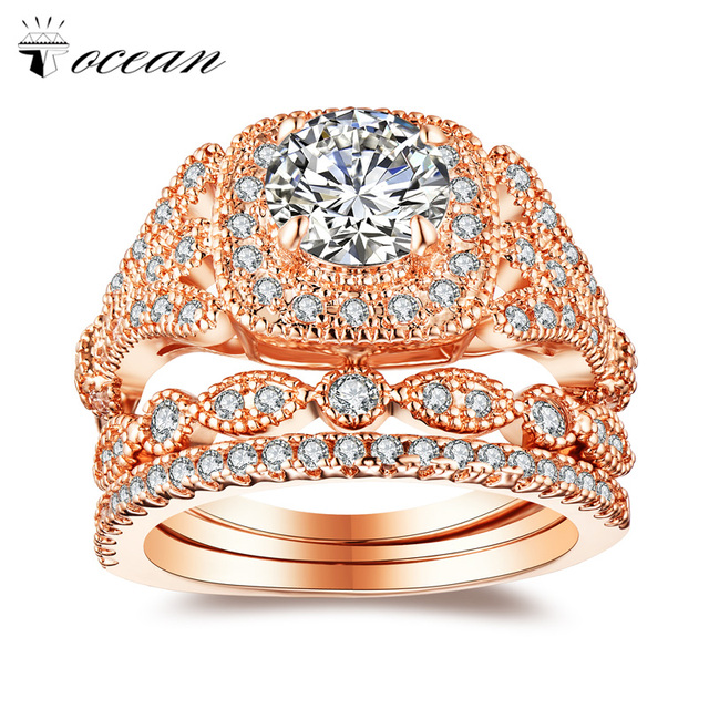 Tocean Rose Gold Color Romantic Wedding Ring Sets for Women Round Cut AAA Zircon Engagement Femme Bijoux Bague Size 5-12 W025