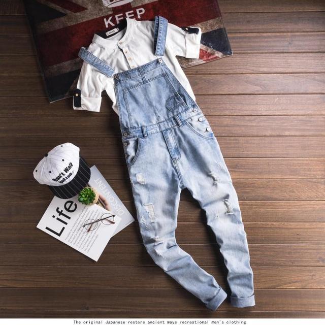 1515b2df816e Couple Style Romper Denim Jumpsuit Men Women Pajamas Ripped Blue Overalls  jeans for Men Pants Slim Fit 2018 Plus Size