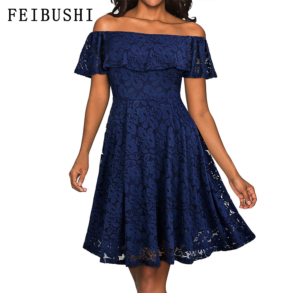 d02ad955ab06 FEIBUSHI Red Off Shoulder Floral Lace Party Swing Dresses Women Dress  Cascading Ruffle Lace Casual Formal