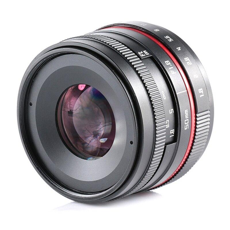 все цены на 50mm Camera Lens F1.8 Large Aperture Manual Focus Lens for Sony E Mount A6500 A7 II/M4/3 GH4 GH5 / Fuji X-T2 /Canon M10 Cameras онлайн