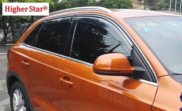 Étoile supérieure 4 pièces vitres de voiture pare-pluie, sourcil de pluie, abri de bloc de pluie avec garniture brillante pour Audi Q3, Q5, A3, A4, A6L