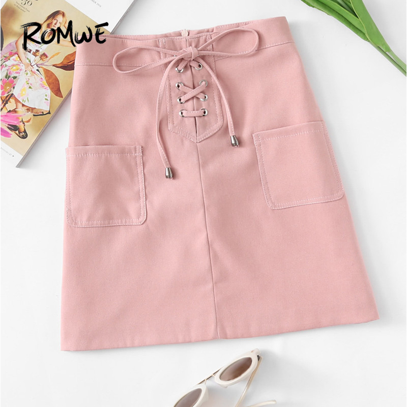 6e541682cb ROMWE Dual Pocket Lace Up Zip Up Back Pink Skirt Spring Fall Mid Waist Women  Clothing