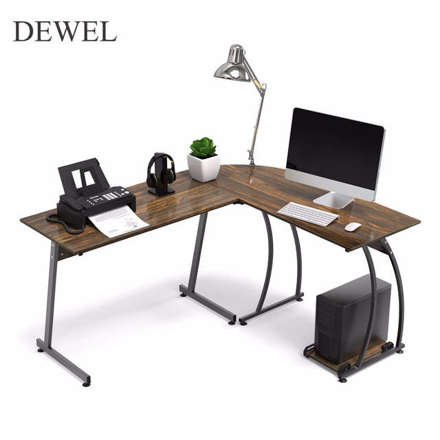 DEWEL L Shaped Corner Computer Desk 59 X 51 Home Office Table 3 Piece Corner Laptop Desk With Free CPU Stand 2 Sides Switch