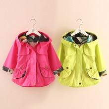 wt-4967 Children color coat girls wear spring 2017 Korean version of the new zippered Hoodie sweater windbreaker Trench coat