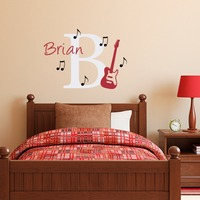 Musical Series Art Fashion Wall Stickers Home Custom Personalized Children Name With Guitar Wall Decals Vinyl Wall Mural W-158