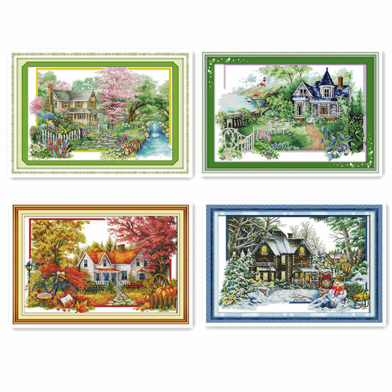 Spring summer autumn winter scenery, suburban hut beautiful scenery cross stitch kit manual embroidery decorative painting