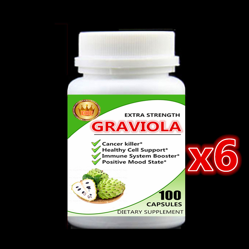 6 bottle 600pcs, Cancel Killer,Graviola Extract,Healthy Cell Support,Immune System Booster,Positive Mood State,Soursop,Guanabana siberian chaga mushroom extract 100pieces bottle boost your energy level support your immune system free shipping