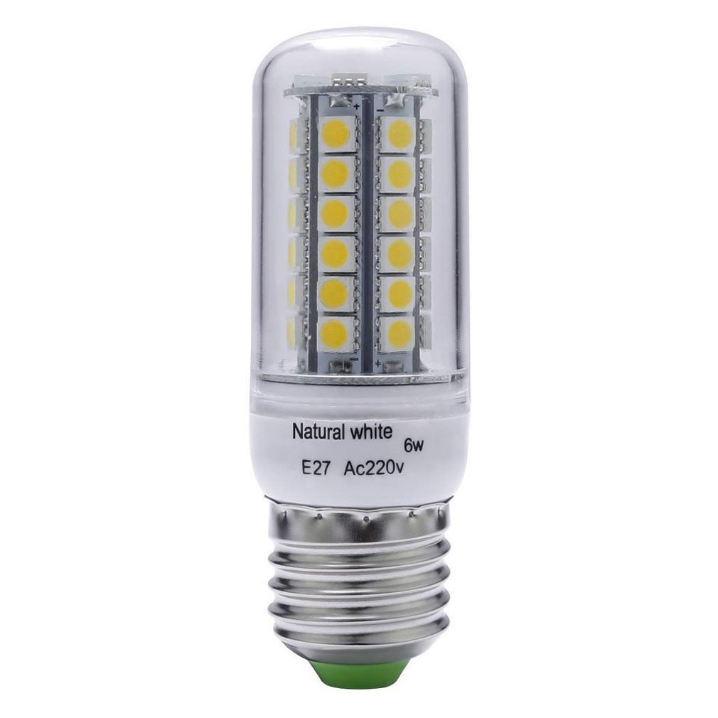 6W, 60W Halogen Bulb Equivalent, E27, 450 Lumens, 48pcs SMD 5050, White, 4500K LED Corn light Bulb Indoor Bar Lighting