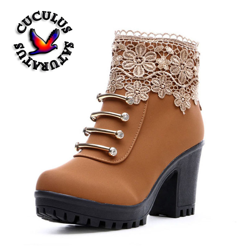 Cuculus 2018 Women Boots Fashion PU Leather Round Toe Ankle Boots Sexy Lace Ladies High Heels Platform Shoes Woman 331 women round toe ankle boots woman fashion platform wedge botas ladies brand suede leather high heel shoes footwear size 34 47