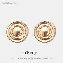 Yhpup Stylish Minimalist Round Geometric Clip Earrings Zinc Alloy Vintage Gold Earrings orecchini for Women Party Jewelry Gift(China)