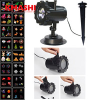 Kmashi 16 PCS Pattern Lens Christmas Led Projector Light Show Outdoor Waterproof For Garden Wall Holiday