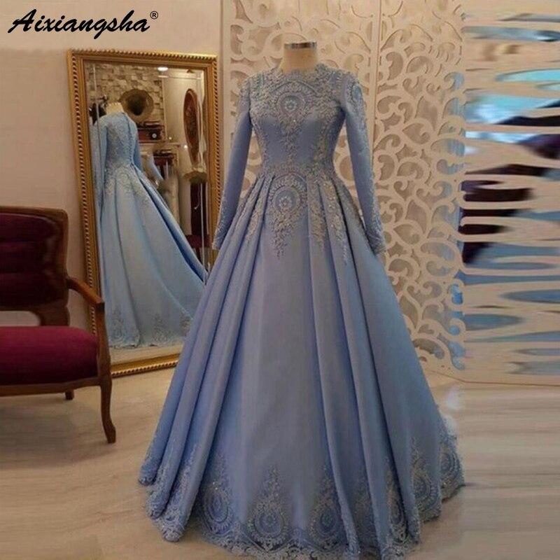 Blue Muslim Evening Dresses 2019 A-Line Long Sleeves Lace Satin Islamic Dubai Saudi Arabic Long Elegant Formal Evening Gown