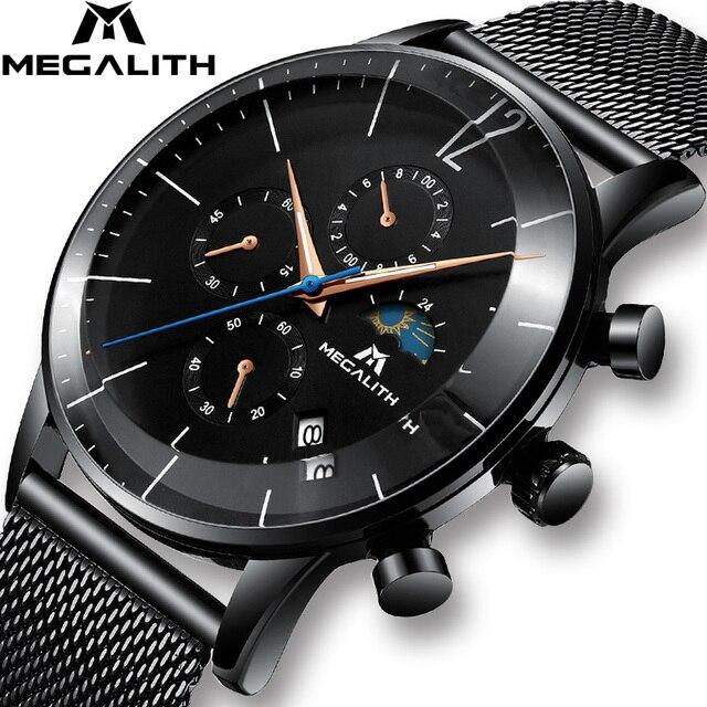 MEGALITH Sport Chronograph Uhr Männer Mode Wasserdicht Montre Homme Männer Datum Analog Quarz Armbanduhr Uhr Relogio Masculino