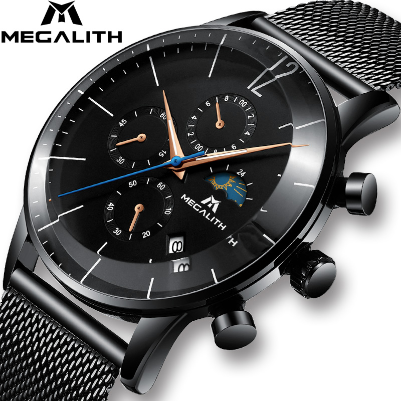 MEGALITH Sport Chronograph Watch Men Fashion Waterproof Montre Homme Men Date Analogue Quartz Wristwatch Clock Relogio Masculino