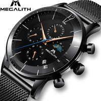 MEGALITH Sport chronographe Montre hommes mode étanche Montre Homme Date analogique Quartz Montre bracelet horloge Relogio Masculino