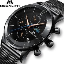 Часы MEGALITH мужские спортивные с хронографом, модные водонепроницаемые аналоговые кварцевые наручные, с датой