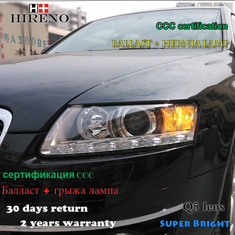 Hireno Car styling Head lamp for 2005-2011 Audi A6 Headlights LED Headlight Assembly DRL Angel Lens Double Beam HID Xenon 2pcs
