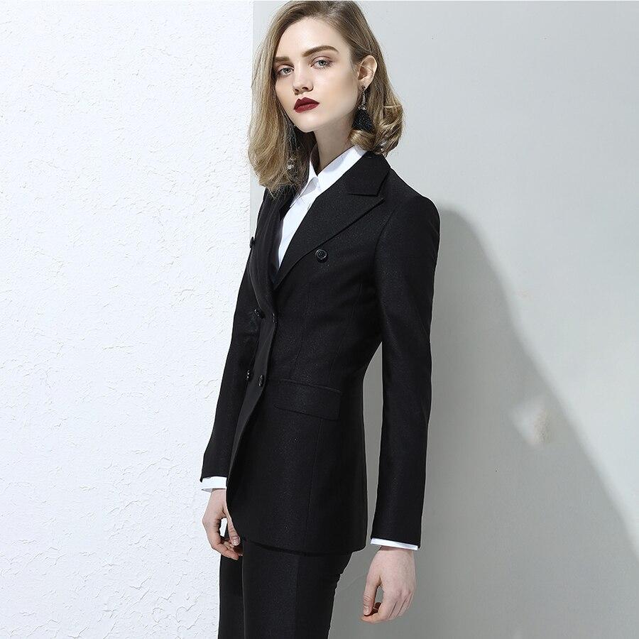 Plus Size Button Blazer Women Autumn Winter Black Office Double Breasted Ladies Suit Jacket Elegant Business Woman Coat X60035