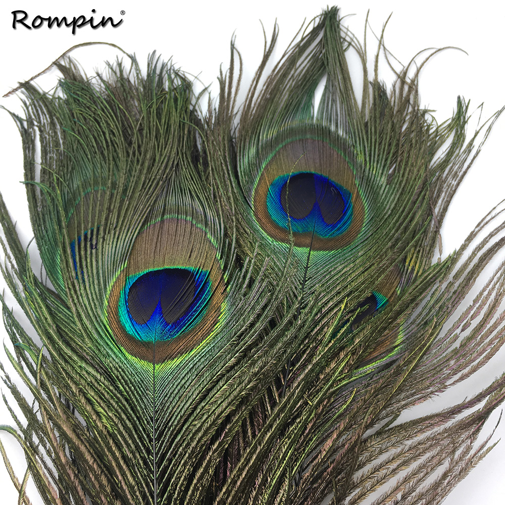 Rompin 10PCS 20-30cm Beautiful Natural Peacock Tail Feathers Eyes Fly Fishing Lure DIY Material