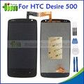 100% probado para htc desire 500 nueva lcd de reparación de piezas de reemplazo de pantalla táctil digitalizador asamblea negro + herramientas