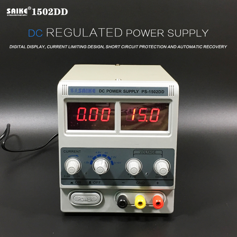 цена на Free shipping SAIKE 1502DD Cellphone Repairs DC Adjustable power supply Voltage regulator Regulated power supply 15V 2A 220V